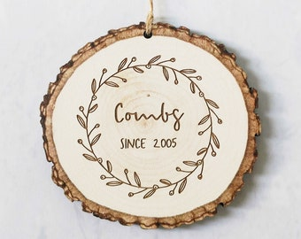 Personalized Log Slice Wooden Christmas Ornament