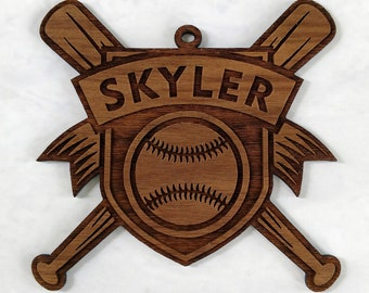 Personalized Baseball Softball Wooden Christmas Ornament