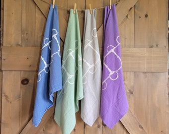LIMITED EDITION- Colored Equestrian Cotton Flour Sack Towels- Horse Owner Gift