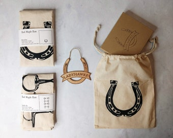 Gift Set for Equestrians- Personalized Horseshoe Ornament with Flour Sack Towels- Ready to Ship