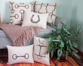 Equestrian Pillow Cover Set of 5- handprinted Egg Butt Snaffle Bit, Full cheek snaffle bit and horseshoe