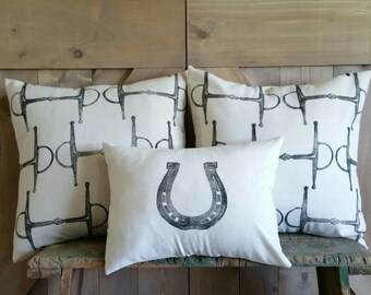 Equestrian Pillow Covers Set of Three- hand-printed horseshoe and full cheeck snaffle bits- by Red Maple Run