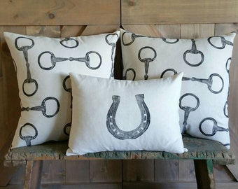 Equestrian Pillow Covers Set of Three- hand-printed horseshoe and snaffle bits- by Red Maple Run