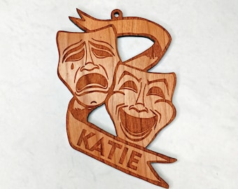 Personalized Theater Masks- Tragedy and Comedy Masks- Wooden Christmas Ornament