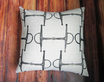 Equestrian Pillow Cover fits 18 x 18 pillow- handprinted english full cheek snaffle bit- Choose Cover Only or with Pillow Form
