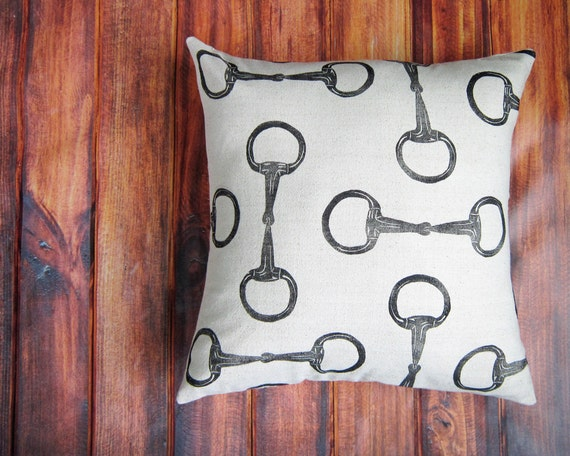 Equestrian Pillow Cover fits 18 x 18 pillow- handprinted english snaffle bit- Choose Cover Only or with Pillow Form