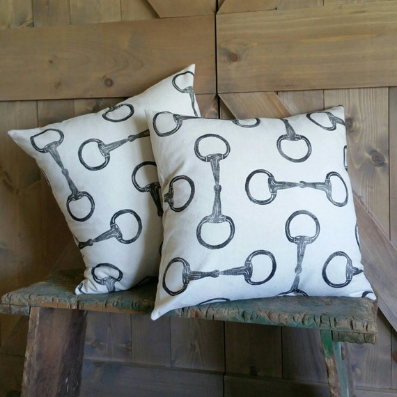 "Equestrian Pillow Set of Two 18""x18""- handprinted Egg Butt Snaffle Bit"