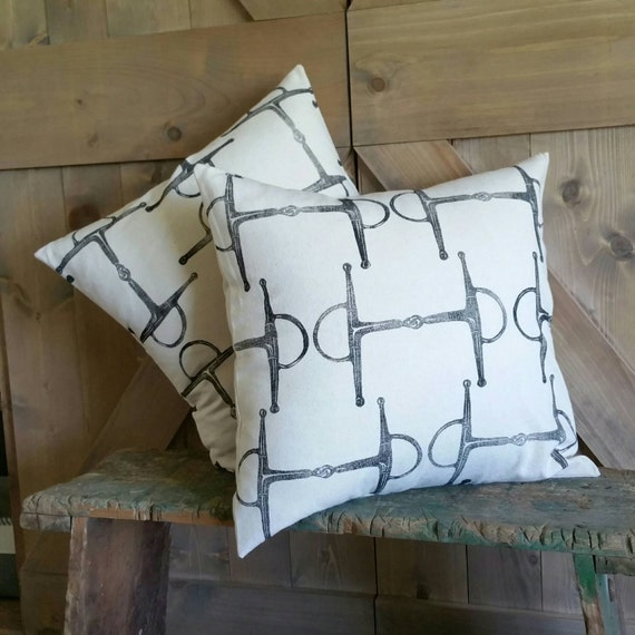 "Equestrian Pillow Set of Two 18""x18""- handprinted Full Cheek Snaffle Bit"