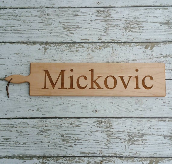 26 inch- Personalized Wooden Serving Bread Board in Walnut or Maple- PRINT Name Engraved Wedding Gift- By Red Maple Run