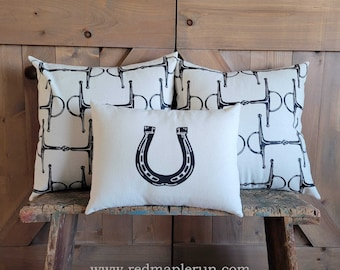 Equestrian Pillow Set of Three- hand-printed horseshoe and snaffle bits- by Red Maple Run