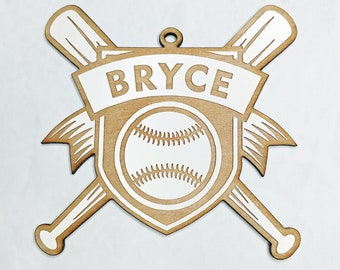 Personalized Baseball Softball Wooden Christmas Ornament