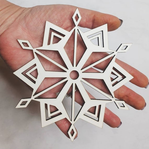 Large 5 Inch Wooden Snowflake Ornament