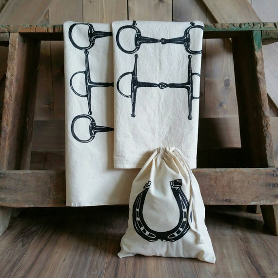 Flour Sack Towels- Horse Snaffle Bit or Horseshoe- Set of 2- with free gift bag- Cotton Equestrian Towel
