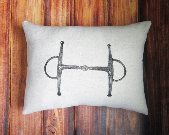 Equestrian Pillow Cover fits 12 x 16 pillow- handprinted Full Cheek Snaffle Bit- Choose Cover Only or with Pillow Form