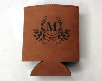 Monogrammed Equestrian Leather Can Cooler, Can Holder