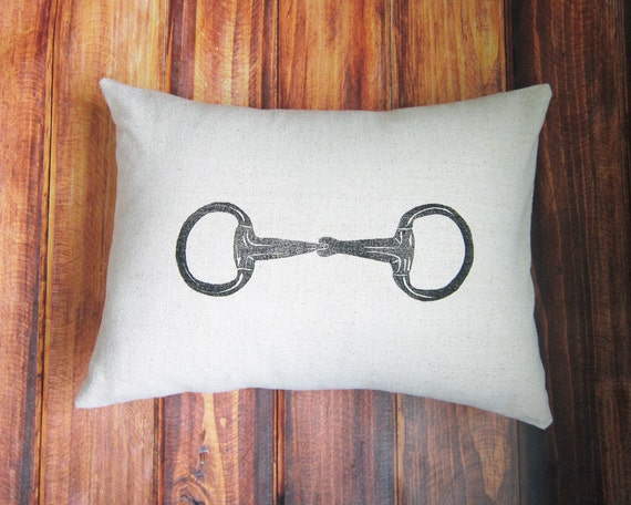 Equestrian Pillow Cover fits 12 x 16 pillow- handprinted Egg Butt Snaffle Bit- Choose Cover Only or with Pillow Form