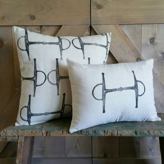 Equestrian Pillow Set of 2- handprinted Full Cheek Snaffle Bit