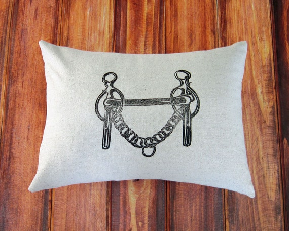 Equestrian Pillow Cover fits 12 x 16 pillow- handprinted Liverpool Curb Bit- Driving Bit- Choose Cover Only or with Pillow Form
