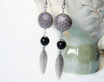 Holiday gift ideas Long dangle earrings Black stone onyx earrings Boho gypsy earrings Silver Statement Metallic earrings Bohemian earrings