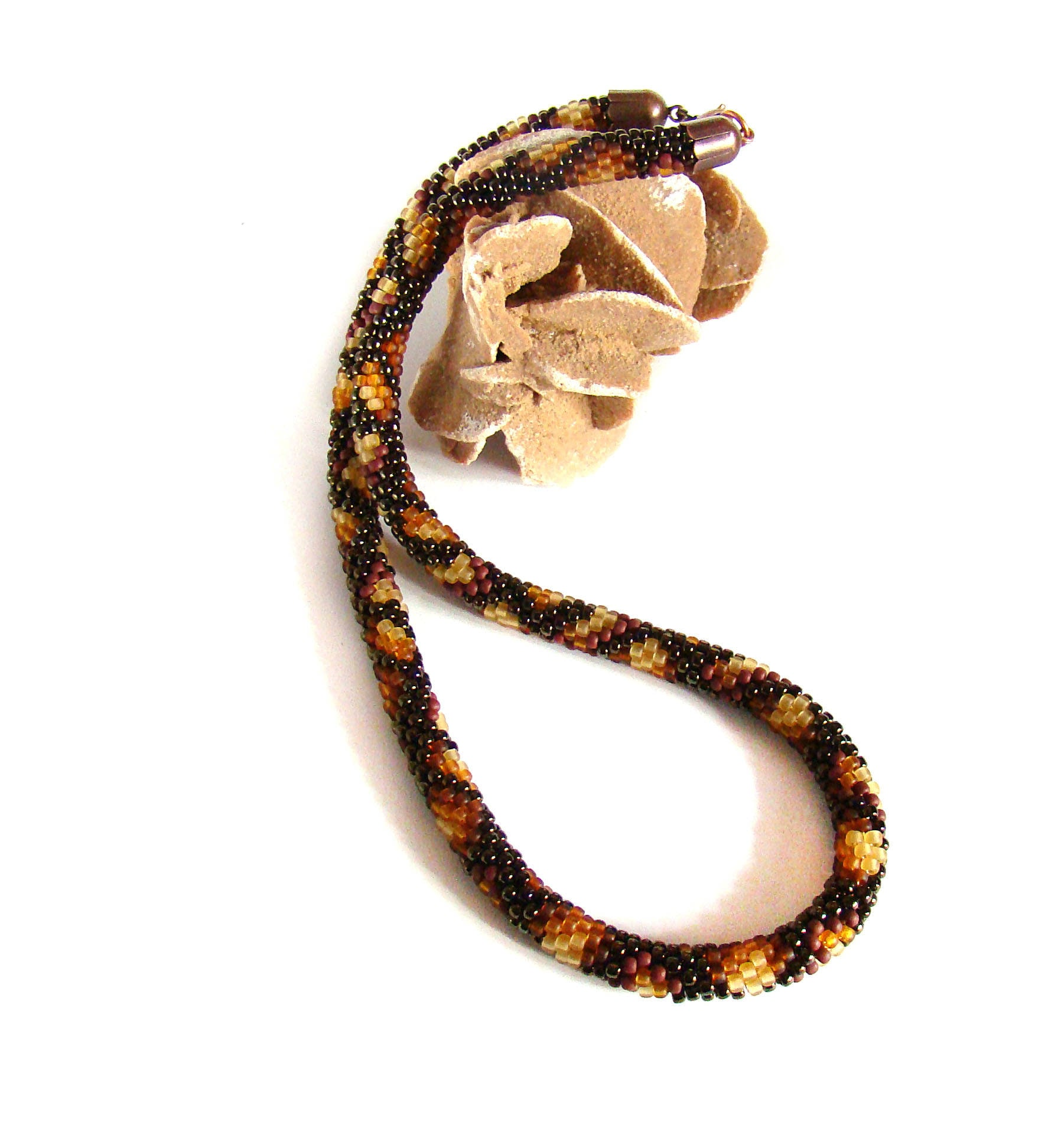 Ethnic necklace Brown Snake necklace Ouroboro beaded crochet necklace
