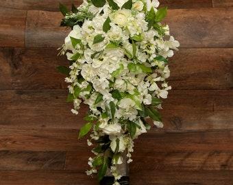 Silk/foam cascading wedding large bride teardrop bouquet