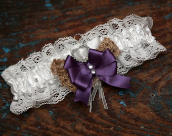 Wedding Garter (All Colours Available) - Hessian & Purple - Lace Garter - With Hand Made Bow - White Wedding Garter