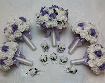 Wedding artificial foam flower package, lilac and white roses, bride and bridesmaids posy bouquets with button holes and corsarges