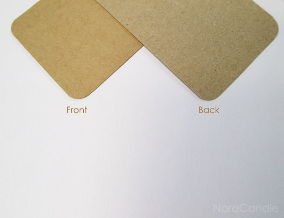 Rounded corners kraft business card two tone brown card set reheart Image collections