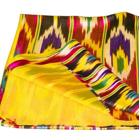 Vintage fait fait Vintage main 100 % soie ikat tissu de Khan-Atlas de l'Ouzbékistan < 8020 > 71ada8