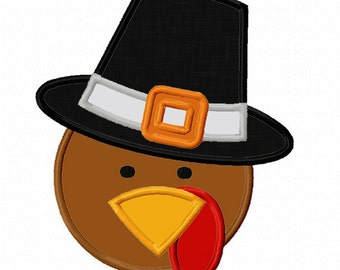 Thanksgiving Turkey Face Applique Machine Embroidery Design Etsy