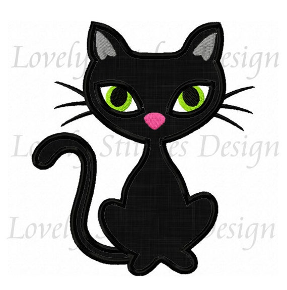Halloween Black Cat Applique Machine Embroidery Design No 0228 Etsy