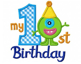 My 1st Birthday With Little Monster Applique Machine Embroidery Design NO:0191