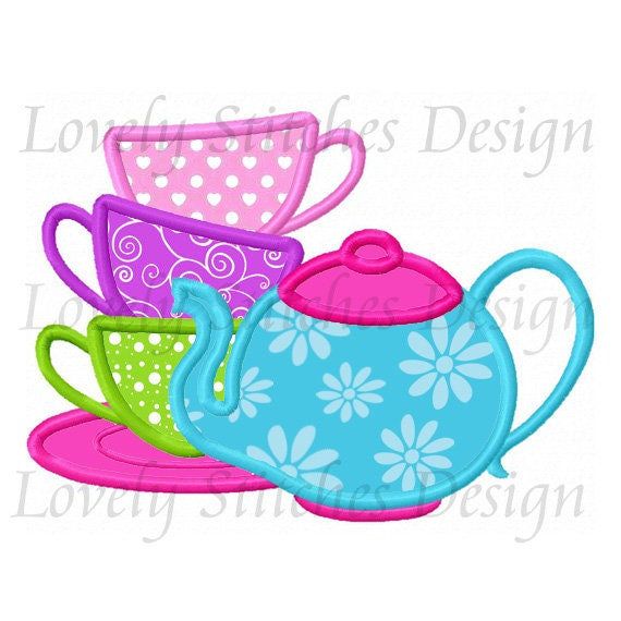 England Embroidered Iron On Applique Patch Tea Cup Drink Tea Beverage