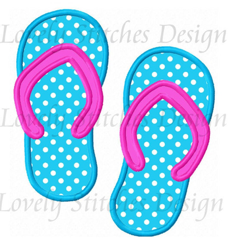 7e5a95eddbd Beach Flip Flops Applique Machine Embroidery Design NO 0541