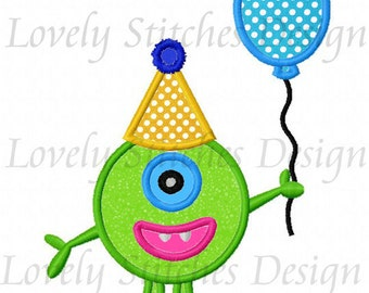 Monster With Balloon Applique Machine Embroidery Design NO:0284