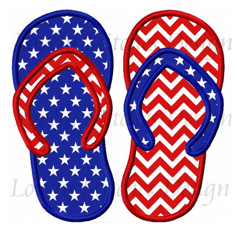 3aa0119fb58 4th of July flip flops Applique Machine Embroidery Design