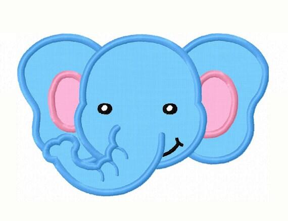 Elefante Cara Apliques Bordados Máquina No