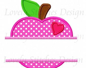 Back To School Apple Applique Machine Embroidery Design NO:0619