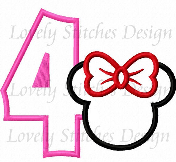 Minnie Mouse Number 4 Applique Machine Embroidery Design Etsy