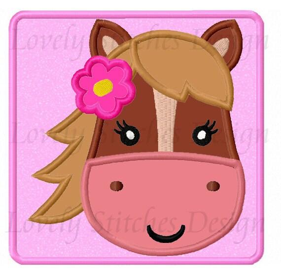 Cara de caballos para ni as apliques bordado de m quina - Apliques de diseno ...