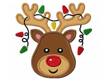Christmas Reindeer Applique Machine Embroidery Design NO:0106
