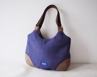 65b67010924 Blauwe tas eenvoudige minimalistische middelgrote handtas handtas  schoudertas canvas tas echt lederen bruine riemen elegante dagelijks  portemonnee indigo