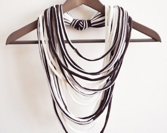 SALE! Brown off-white necklace neck ornament loop scarf infinity scarf round scarf