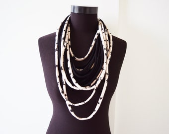 SALE! Black stars necklace neck ornament loop scarf infinity scarf round scarf hoop star off white cream beige and black
