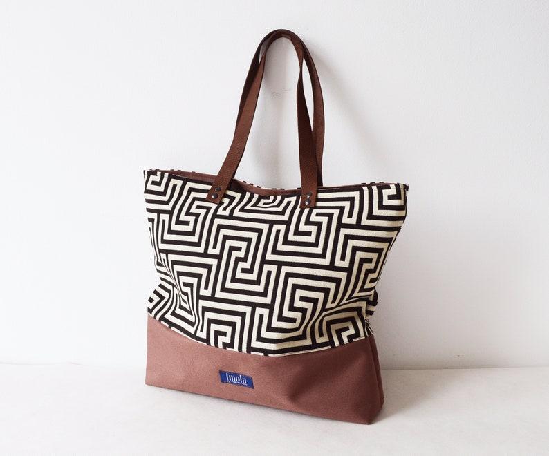 f2654cc09a2dd Duży płótno torba na co dzień torebka worek brązowy wzór