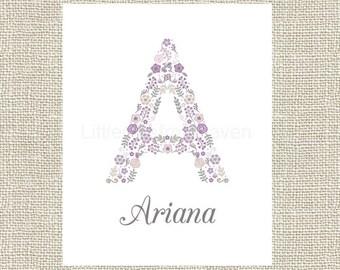 Floral Monogram Purple Gray Print, purple gray baby, girl shower gift, nursery canvas, floral monogram, letter name print, initial print