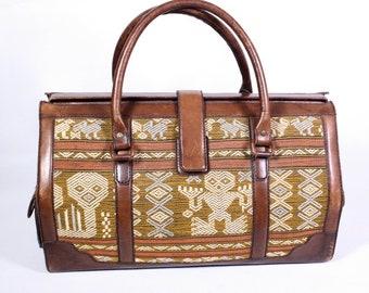 KO1 Travel Bag weekender leather brown fabric ethno-look vintage