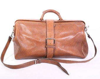 KO87 Travel Bag Weekender doctor bag leather brown derb shoulder strap Vintage