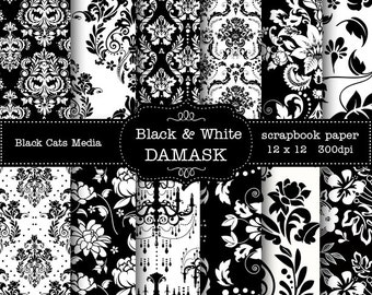 Black and WHITE DAMASK DIGITAL 12 x 12 in and 8.5x11 in  Printable Paper - weddings,  scrapbooking, instant download