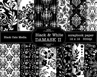 Black and WHITE DAMASK DIGITAL 12 x 12 in and 8.5x11 in  Printable Paper - scrapbooking, wedding, instant download – seamless pattern